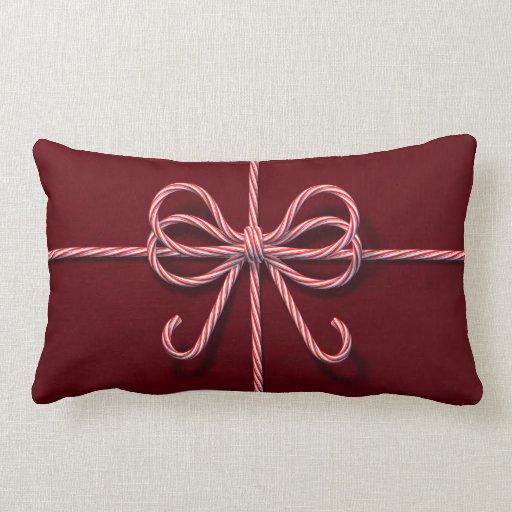 Candy Cane Bow Lumbar Pillow