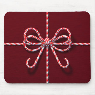 Candy Cane Bow Mouse Pad