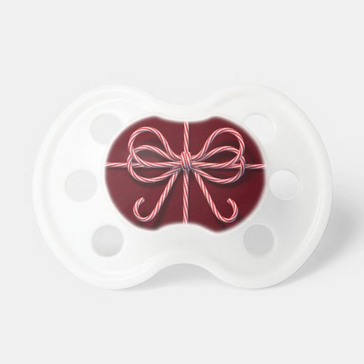 Candy Cane Bow Pacifier