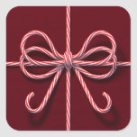 Candy Cane Bow Sticker
