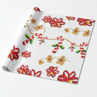 Candy Cane, Bows Photo Gloss Wrapping Paper