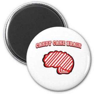 Candy Cane Brain 2 Inch Round Magnet