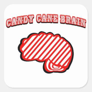 Candy Cane Brain Round Sticker