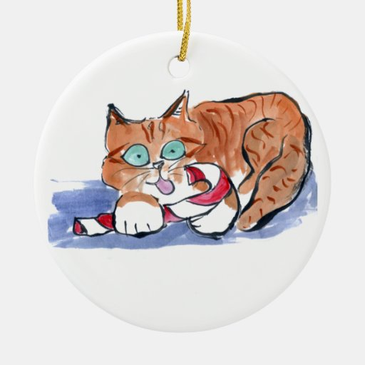 Candy Cane Brown Tiger Kitten Double-Sided Ceramic Round Christmas Ornament