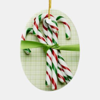 Candy Cane Bundle Ceramic Ornament