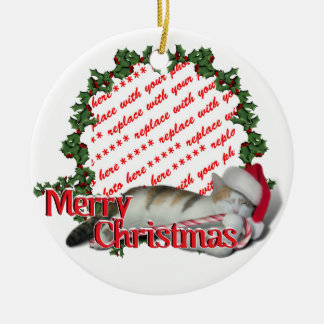 Candy Cane Cat Christmas Photo Frame Ceramic Ornament