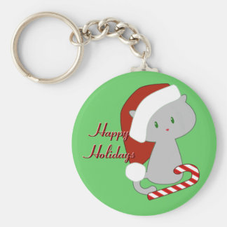 Candy Cane Cat Keychain