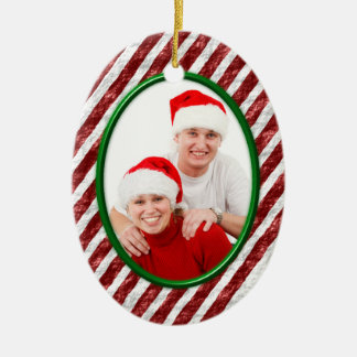 Candy Cane Ceramic Ornament