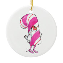 Candy Cane chicken Ceramic Christmas Ornament