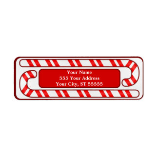 Candy Cane Chirstmas Address Label