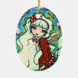 Candy Cane Christmas Angel Fairy Art Ceramic Ornament