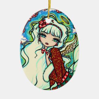 Candy Cane Christmas Angel Fairy Art Ornament
