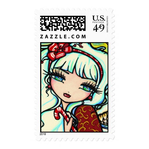 Candy Cane Christmas Angel Fairy Art Postage