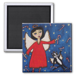 Candy Cane Christmas Angel Magnet