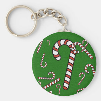 Candy Cane Christmas Basic Round Button Keychain