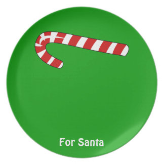 Candy Cane Christmas Customizable Name Message Melamine Plate