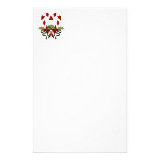 Candy Cane Christmas Heart Personalized Stationery