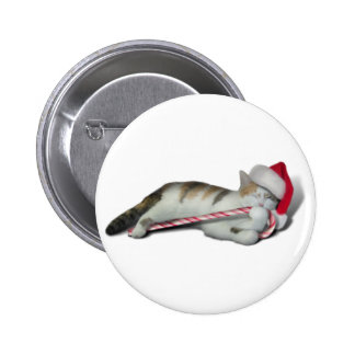 Candy Cane Christmas Kitty Pin