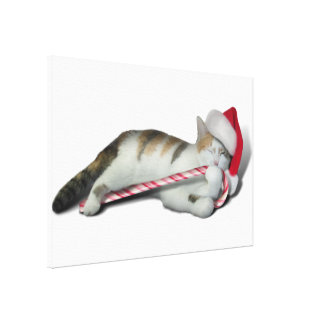 Candy Cane Christmas Kitty Gallery Wrapped Canvas