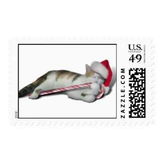Candy Cane Christmas Kitty Postage