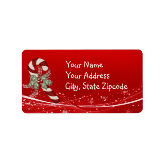 Candy Cane Christmas Label