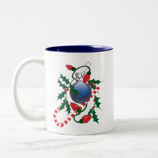 Candy Cane, Christmas Lights & Holly design Two-Tone Coffee Mug