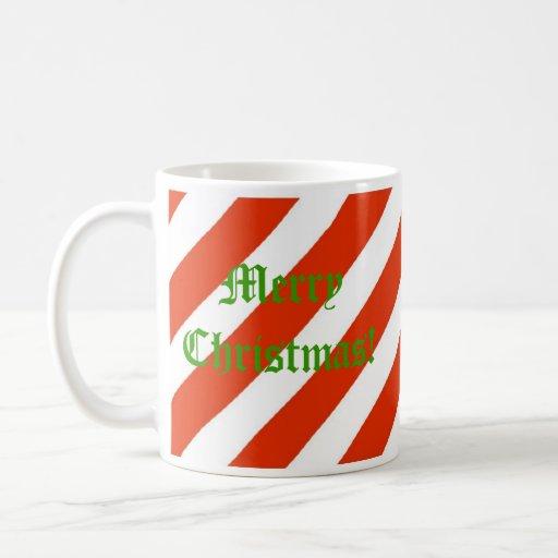 Candy Cane Christmas Mug with Gingerbread House