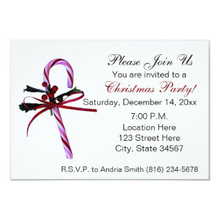 Candy Cane Christmas Party Invitations at Zazzle