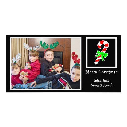 Candy Cane Christmas Photo Card (Black)
