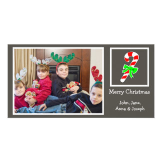 Candy Cane Christmas Photo Card (Dark Gray)