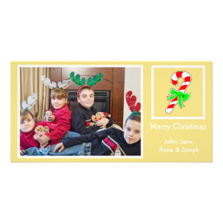 Candy Cane Christmas Photo Card (Gold)