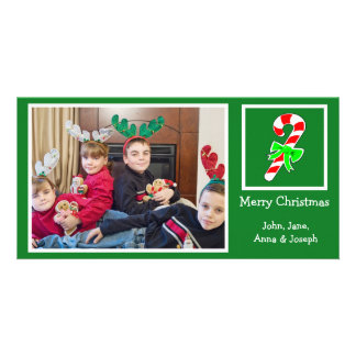 Candy Cane Christmas Photo Card (Green)