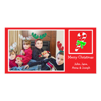 Candy Cane Christmas Photo Card (Red)