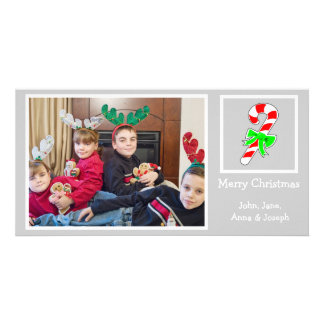 Candy Cane Christmas Photo Card (Silver)