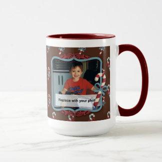 Candy Cane Christmas Photo Mug