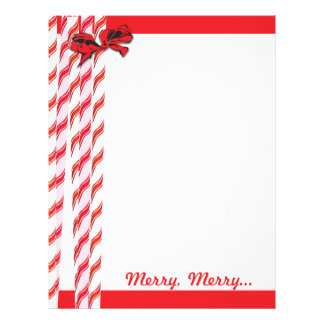 Candy Cane Christmas Stationery Letterhead Template