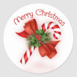 """Candy Cane Christmas Stickers<br><div class=""""desc"""">Cute candy cane decorated with pine,  holly and a bow. Great for your holiday gifts.</div>"""