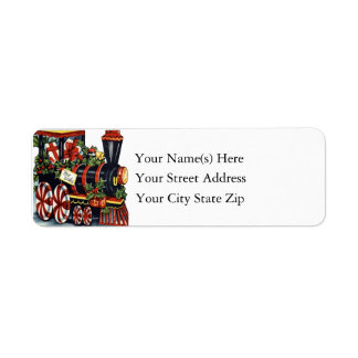 Candy Cane Christmas Train Vintage Christmas Label