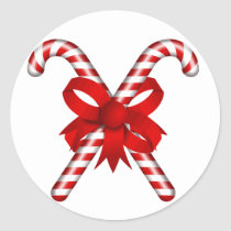 Candy Cane Classic Round Sticker