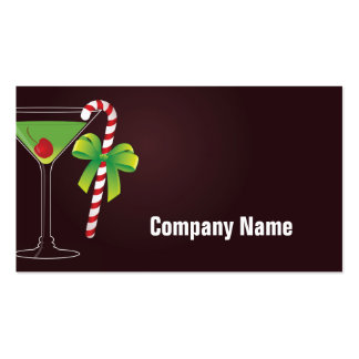 Candy Cane Cocktail Christmas Business Card Template