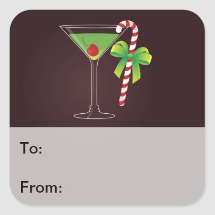 Candy Cane Cocktail Christmas Gift Tag Sticker