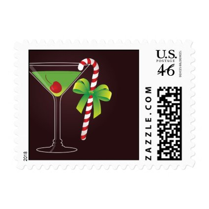 Candy Cane Cocktail Christmas Postage Stamp