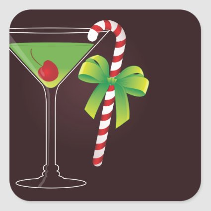 Candy Cane Cocktail Christmas Stickers