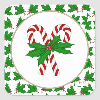 Candy Cane Collection Square Sticker