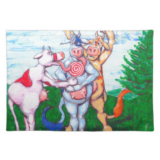 Candy Cane Cows Cloth Placemat