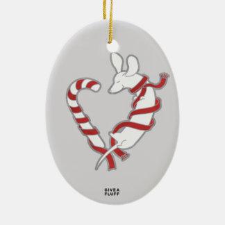 Candy Cane Doxie Ceramic Ornament