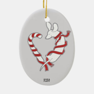 Candy Cane Doxie Double-Sided Oval Ceramic Christmas Ornament