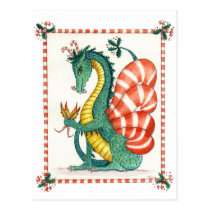 Candy Cane Dragon - postcard
