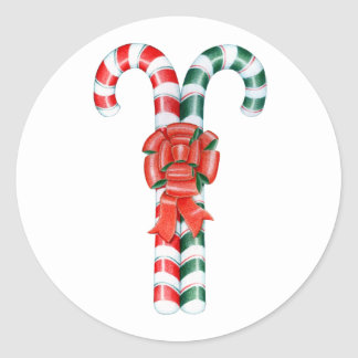 Candy Cane Duo Classic Round Sticker