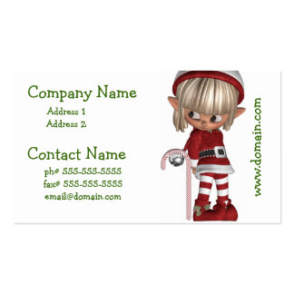 Candy Cane Elf Business Card Template